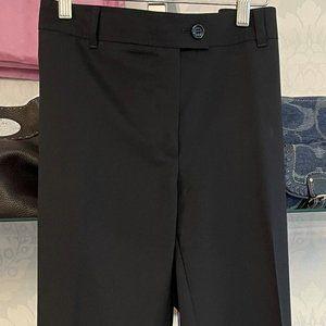 NINA RAYNOR Black Wool Blend Straight Leg Flat Front Dress Pant